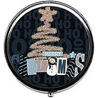LinJxLee Snowman Christmas Tree Portable Round Pill Case Pill Box Medicine Box Medicine Tablet Vitamin Organizer... preisvergleich bei billige-tabletten.eu