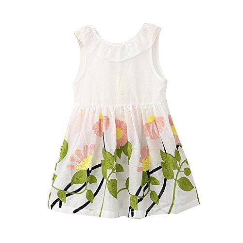 (Babykleidung Honestyi Kleinkind Kinder Baby Mädchen Prinzessin Party Pageant Sleeveless Tutu Blume Kleider (Rot-Weiß,130/7))