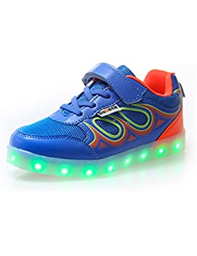 DoGeek Zapatos LED Niños Niñas Negras Blanco 7 Color USB Carga LED Zapatillas Luces Luminosos Zapatillas LED Deportivos...