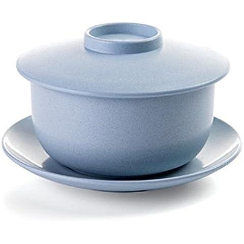 Eco friendsly Set Ciotola con coperchio e piatto Pure Color per cucina tavola, Blue, Medio