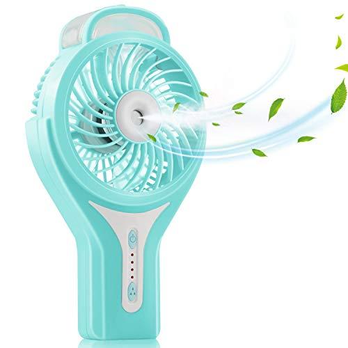 Mesigu Ventilador de nebulización de mano, Ventilador con batería recargable USB, 3...