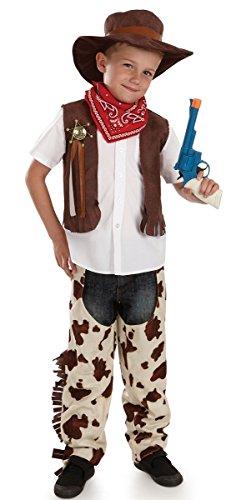 4pezzi da bambino selvaggio West Cowboy Cappello Costume Travestimento Outfit 4-12anni Multi 8-10 anni