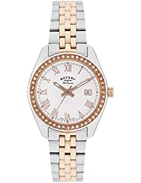 Rotary Women's Quartz Watch with White Dial Analogue Display and Rose Gold Plated Silver Stainless Steel Bracelet LB90111/01