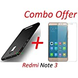 """YuniKase (COMBO OFFER) for Xiaomi Redmi Note 3 / Mi Note 3 - - - All Sides Protection """"360 Degree"""" Sleek Rubberised Matte Hard Case Back Cover (Black) + Premium Tempered Glass Mobile Screen Protector - - - (Transparent)"""