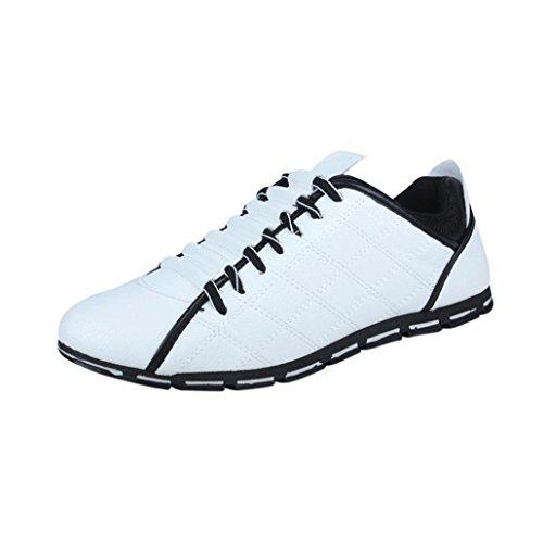 Mode Sportschuhe Herren,Herren Low-Top Moderne Lässige Herren Sneaker Fashion Men Casual Leder Bequeme Breathable Turnschuhe Flache Schuhe (EU:44/CN:45, Weiß)