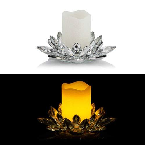 Kerzenhalter aus Kristallglas inkl. LED Echtwachskerze mit Timer - Für Stumpenkerzen (Silber mit Perlmutt Kerze)