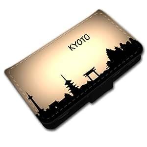 Voyage Kyoto, Japon, Noir Coque Housse Pochette Cover Coquille en Cuir avec Dessin Coloré et Fermeture Noir Magnetique pour Samsung Galaxy Trend / Duos