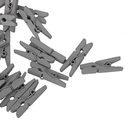 Preisvergleich Produktbild Mini Holz Clip, 50PCS 25mm Mini Holz Foto Papier Peg Wäscheklammer Kleidung Pin Clips von Sunshine D–1Dekoration Karten Notizen Memo Wäscheklammern Clips, grau