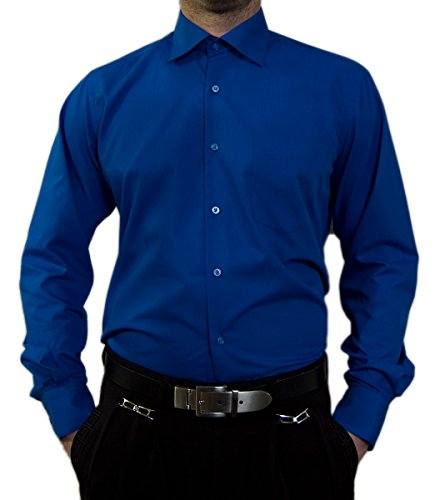 Camicia da uomo senza stiro, colletto classico, camicia da uomo, a maniche lunghe, colori assortiti Enzianblau