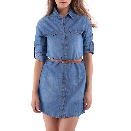 La Modeuse - Robe chemise en chambray Bleu