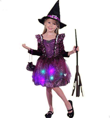 Halloween kostüm Cosplay Kinder Mädchen, weibliche Hexen Prinzessin Kleider, mit Licht, 3-4 Größe (105 (Feuer Halloween Kostüm Prinzessin)