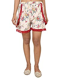 9teenAGAIN Women's Hosiery Tulip Short Loungewear(Red & White)