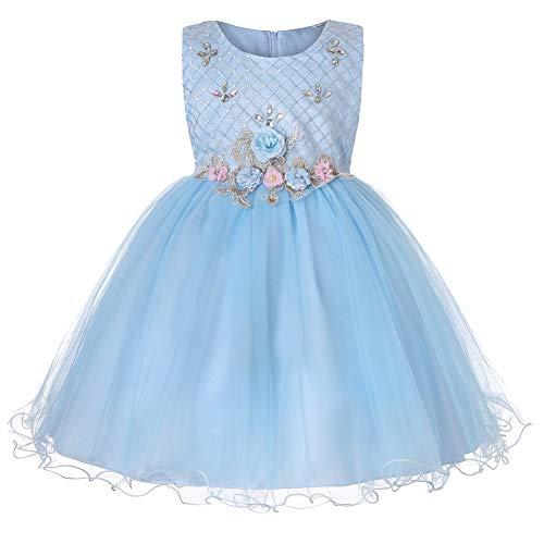 5731d4b94cd9 Yonglan Ragazze Fiore Principessa Vestito Matrimonio Compleanno Partito  Festa Prom Abiti Blu 170