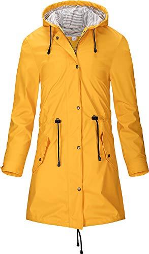 SWAMPLAND Damen PU Regenjacke Mit Kapuze Wasserdicht Windbreaker Wetterfest Übergangsjacke Regenmantel, Gelb 42 Regenmantel