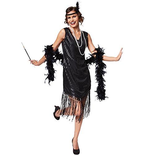 stüm Jazz | Elegantes Paillettenkleid | Inkl. Haarband mit Feder (XL | Nr. 301578) (Jazz Flapper Halloween-kostüm)