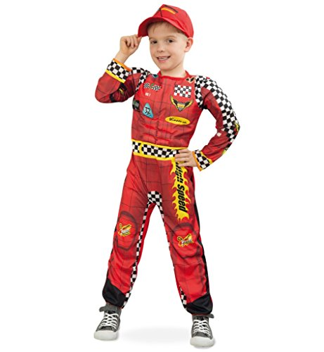kostüm, Kinder-Outfit, rot-gelb, Overall, Ganzkörper-Anzug Rennfahrer Rallye Formel 1 (116) (Rennfahrer Kostüm)