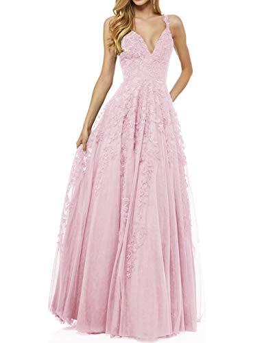 LuckyShe Damen Sexy V-Ausschnitt Abendkleider Ballkleid Elegant für Hochzeit Lang 2018 Rosa Größe 36