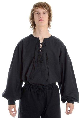 Hemad.De - Chemise Médiévale A Laçage En Pur Coton - Noir S-Xxxl Noir