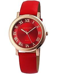 Reloj Mujer Rojo Oro números Romanos Analógico de Cuarzo Piel Reloj de  Pulsera 107995f6f8db