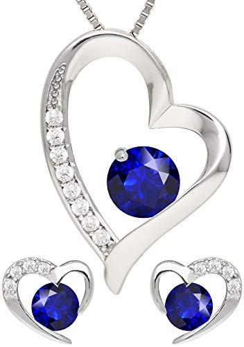 KianaLice Blue Heart Schmuckset aus 925 Sterling Silber mit Saphir Blau Zirkonia Stein bestehend aus Herz Anhänger, Ohrstecker und 45 cm Damen Halskette im Etui