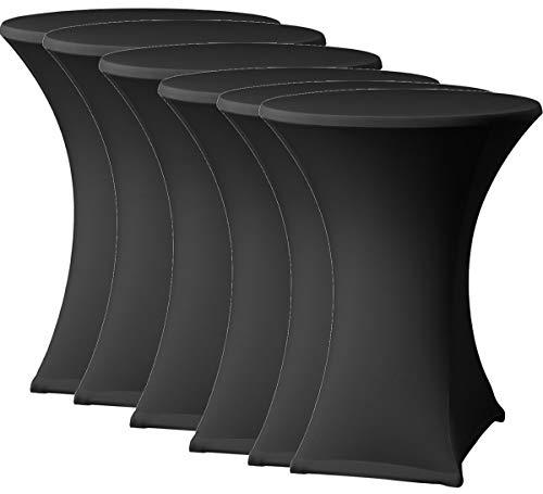 FDBW Stehtischhussen Schwarz x 6 - Stehtisch Rock - Stehtisch Tische Rock - Bistrotisch - Stretch - ∅80-85 x 110 cm - für Gaststättengewerbe Ereignis | Cocktailparty | Stretchhusse | Tischhusse