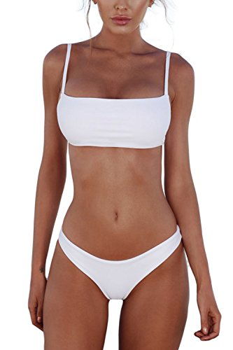 i Set Push Up Gepolstert Bustier Zweiteilig Sommer Sportliches Bademode Strand Bikini(Weiß,S) ()