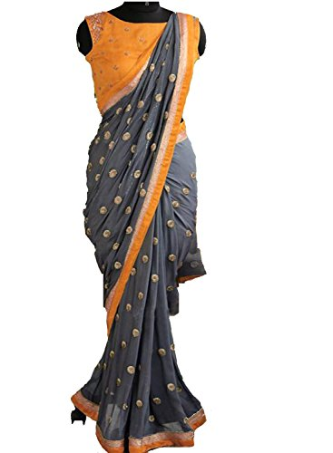 Women's Ethnic Clothing Grey Georgette Sequence Work Sarees For Women Party Wear...