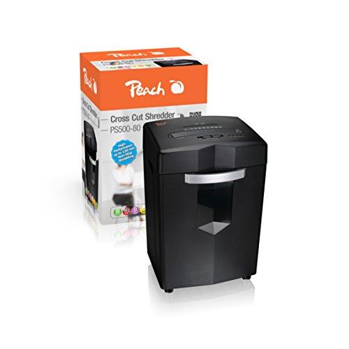 Peach PS500-80 Kreuzschnitt Aktenvernichter | 21 Blatt | 27 Liter | 4x35 mm Partikel (P-4) | Papier, CDs, Kreditkarten | sehr leise | Dauerbetrieb bis zu 120 min. | High Performance