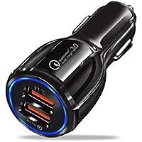Cutowin Quick Charge 3.0 - Cargador de Coche (2 Puertos, USB, Qualcomm QC, Adaptador de Carga Rápida)