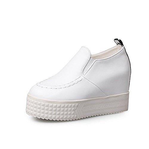 VogueZone009 Damen Ziehen Auf Rund Zehe Hoher Absatz Pu Leder Rein Pumps Schuhe Weiß