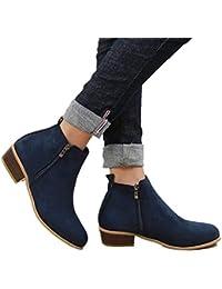 Botines Mujer Ankle Boots Tacon Ante Botita Invierno 3cm Casual Tobillo Botas Piel Medio Tacon Ancho