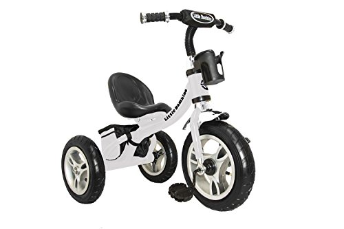 Preisvergleich Produktbild Little Bambino RideOn Pedal Dreirad für Kinder,  intelligentes Design,  3 Räder,  Weiß,  CE-geprüfte Lufträder,  Verstellbarer Sitz mit Metallrahmen