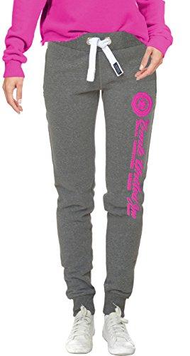 M.Conte Sweat-Pants Modello Ramona Pantaloni in Felpa sportivi da Jogging tuta felpa per donna Grigio Melange Taglia L