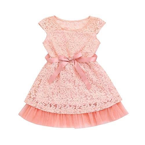 JUTOO Kleinkind Neugeborenes Baby Kleinkind Kinder Mädchen Kleid Spitze Tutu Solide Sleeveless Baby Kleid Outfits (Rosa,120)