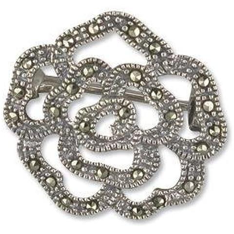 Con Fiore Spilla in argento Sterling Marcasite–Spilla/Clip, stile Vintage, gioielli