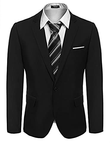 Hasuit Men's Slim Fit Suits Casual One Button Solid Blazer Jacket With Two Pocket
