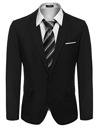 Hasuit Herren Anzugjacke Normal Fit Ein Knopf Sakko in europäischen Größen, schwarz, Size L