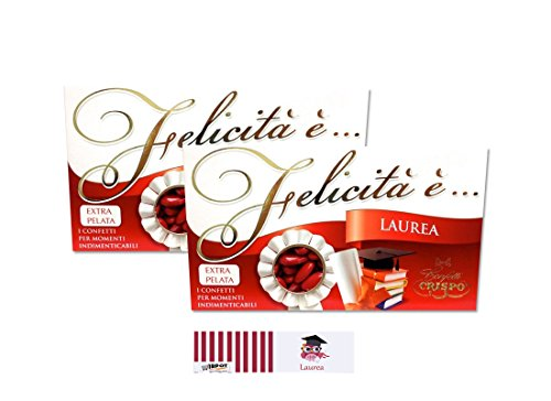 Confetti mandorla extra pelata rossi 2 kg + 100 bigliettini bomboniera laurea