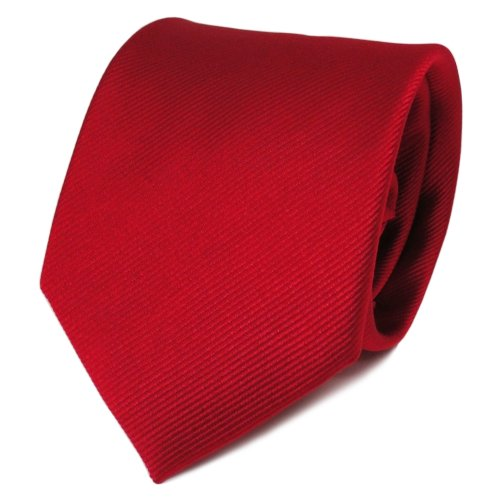 TigerTie Designer Satin Seidenkrawatte in rot feuerrot einfarbig Rips - Krawatte Seide