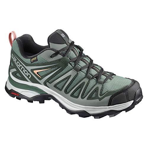 Salomon X Ultra 3 Prime GTX W, Stivali da Escursionismo Donna, Verde (Balsam Green/Darkest Spruce/Coral A 000), 41 1/3 EU