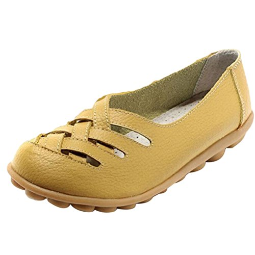 Vogstyle Damen Neu Hohl Mokassins Flach Loafer Slipper Schuhe Yellowish