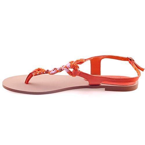 Unze Frauen, Die Gavin Perlen Akzent Flachbild Tanga Rumhängen Sandalen Größe 3-8 - W00832 Orange