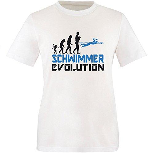 EZYshirt® Schwimmer Evolution Herren Rundhals T-Shirt Weiss/Schwarz/Blau