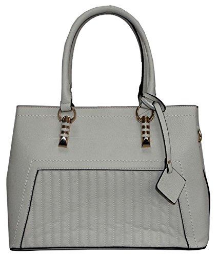 Kukubird Beatrix Ecopelle Striscia Verticale Impunture Dettaglio Design Top-manico Tracolla Tote Handbag Light Grey