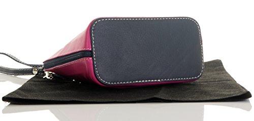 Italiano in morbida pelle, piccole/Micro croce corpo borsa o borsetta borsa a tracolla.Include una custodia protettiva. Fucsia/Navy