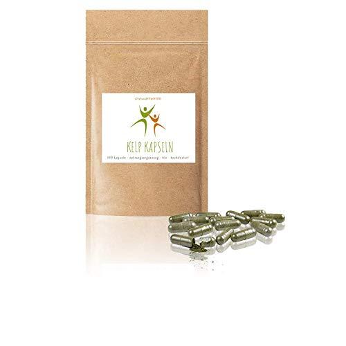 Bio Kelp Kapseln - Jodkapseln 100 Stück à 200 mg - hochdosiert - aus Meeresalgen - Kelp, Braunalge - 100% BIO, vegan & pur - Glutenfrei - Laktosefrei - OHNE Hilfs- u. Zusatzstoffe