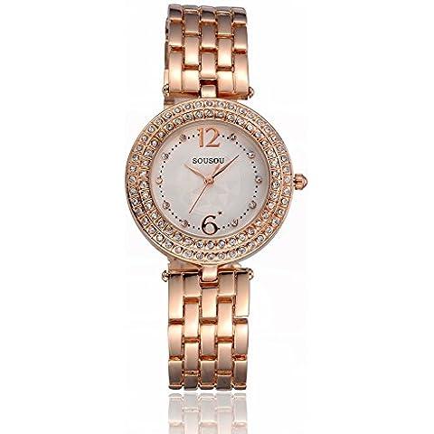 Retro diamante quarzo orologio da donna Fashion Watch, rose gold - Rose Rose Gold Pocket Watch