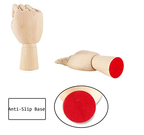 """Art Wooden Hand, Artist Jointed Articulated Mannequin Wood Hand,Sectioned Opposable Figure Sculpture Manikin Hand Model with Flexible Fingers,for Drawing,Sketching(10"""" Left+Right Hand)"""