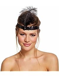 Adult Black 1920s Flapper Charleston Headband Fancy Dress Accessory