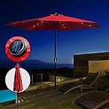 Ombrellone da Giardino con LED Solare Ombrellone Alluminio da Terrazzo Inclinazione Ombrellone a Manovelle da Esterno Rettangolare Rosso,Diametro: 3 Metri Masthome